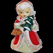 Lefton Japan Christmas Angel Bell with Golden Bells & Christmas Tree