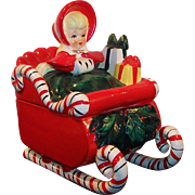 Excellent! Lefton Candy Cane Sleigh Christmas Girl Candy Jar Circa 1957
