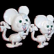 Vintage White Enamel Mice Scatter Pins