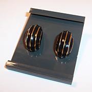 Vintage Black & Gold Napier Pierced Earrings