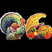 SALE Vintage Dennison Thanksgiving & Fall Diecuts: Horn of Plenty & Tom Turkey