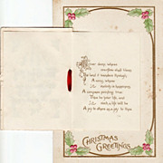 Unused   Antique Christmas Postcard with Booklet Attachment