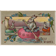 Antique Easter Postcard Fantasy Boating Bunnies