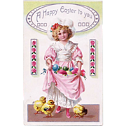 SOLD Antique Raphael Tuck & Sons Easter Postcard Pretty Girl in Frilly Pink Dress