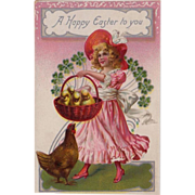 SOLD Antique Raphael Tuck & Sons Easter Postcard Girl in Pink with Peeps