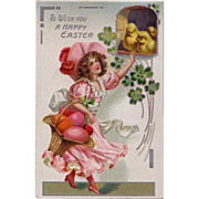 SOLD Antique Raphael Tuck & Sons Easter Postcard Pretty Brunette in Frilly Pink Dress