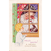 Vintage 1920's Christmas Postcard Santa Peeking in Window