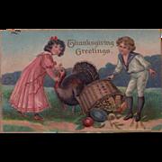Cute Kids in Period Attire Antique Thanksgiving Postcard