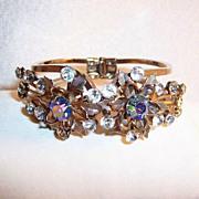 Rhinestone & Aurora Borealis Floral Clamper Bangle  Bracelet