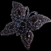 Vintage Japanned Jet Black Butterfly Brooch