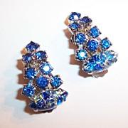 Fabulous! Blue Art Glass & Rhinestone Earrings