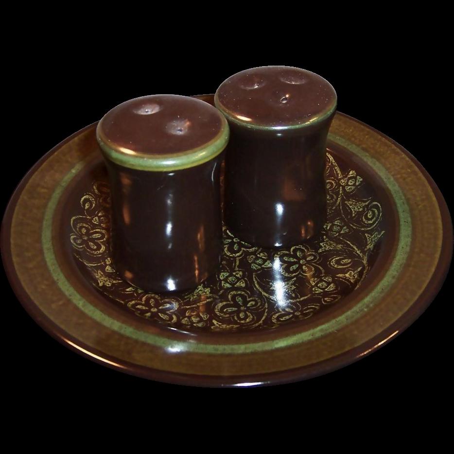 "Franciscan Madeira Earthenware  8 1/2"" Plate plus Salt & Pepper Set"