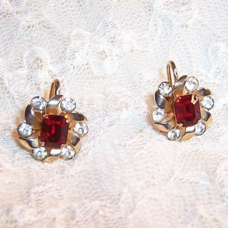 Coro Sparkling Red & Clear Rhinestone Earrings