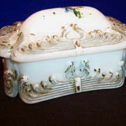 Victorian Milk Glass Dresser Box