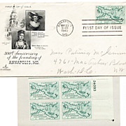 1949 Unused Postage Stamp Block & First Day Cover Annapolis, MD