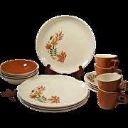 SVC For 4: Salem China Autumn Leaves Ironstone Dinnerware