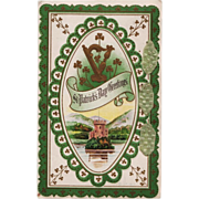 Unused St. Patrick's Day Ribbon Adorned Postcard