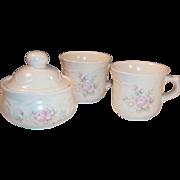 (2) Pfaltzgraff Tea Rose Cups (& Sugar Bowl)