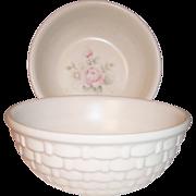 "(2) Pfaltzgraff Tea Rose Basketweave Pattern 5"" Berry Bowls"