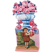German Fold Out Die Cut Boy & Roses Valentine