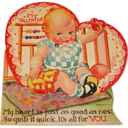 Sweet Baby Giving You Her Heart Vintage Mechanical Valentine