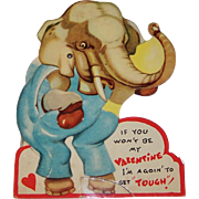 SALE PENDING Vintage Mechanical Boxing Elephant Valentine