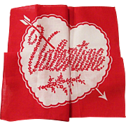 SALE PENDING Vintage Hidden Heart & Message Valentine Hankie