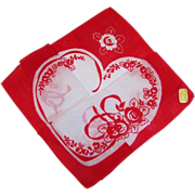 SOLD Vintage Ribbons & Roses Special Hidden Heart Valentine's Day Hankie