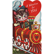 Vintage 1960's Unsigned Kitty Engineer Train Valentine Card
