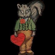 SALE PENDING Vintage Unused Mechanical Nutty Squirrel Valentine