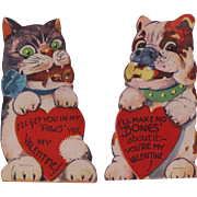 Two Vintage Valentines: Fierce Cat & Dog Duo