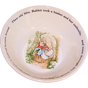 """Excellent Vintage Wedgwood Peter Rabbit Child's or Baby 6"""" Soup / Cereal Bowl"""
