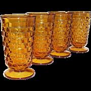SET of 4: Vintage Amber Whitehall Cube Pattern 12 oz. Tumblers