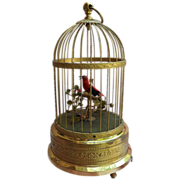 SALE Early 1900s Karl Griesbaum Singing Bird Cage Automation