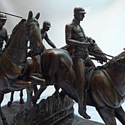 SALE Jockeys Horse Race Bronze Sculpture After Isidore Jule Bonhurn