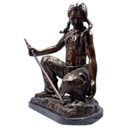 SALE Native American Indian with Spear  Bronze Sculpture