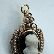 Victorian Hard Stone Cameo Pin with Pearls