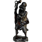 REDUCED Antique Chinese Wood Statue Bodhidharma Zen Master