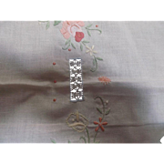 """Round Table Cover Cloth Embroidery Crochet Drawnwork Applique Flowers 33"""" Linen"""