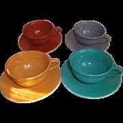 Hazel Atlas Glass Ovide Cups Saucers Aqua Gray Gold Rust