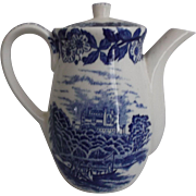SOLD Blue White Electric Tea Pot Castle River Boat Vintage Transfer Japan