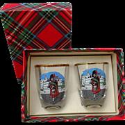 Shot Glasses Pair Scottish Bagpipe Players  Vintage Barware