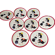 SOLD Round Metal Coasters  Kittens Cats Flowers Bows Vintage Decorative