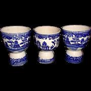 Three Blue Willow Egg Cups Vintage Japan Transferware