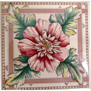 Vintage Minton Hollis Reproduction Tiles by H & R Johnson England Peony Flowers
