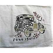 Hand Embroidered Towel Tablecloth Vintage 1927 Ford Car