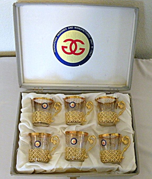 Italian Glass Demitasse Set with Goldtone Holders and Labels