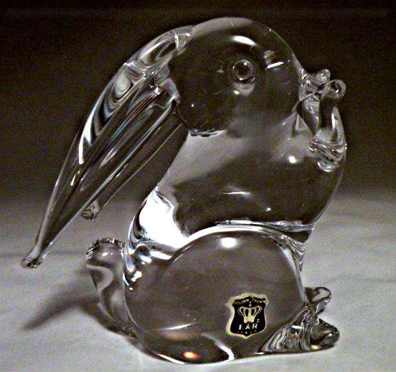 V Nason Murano Glass Rabbit in Clear Glass