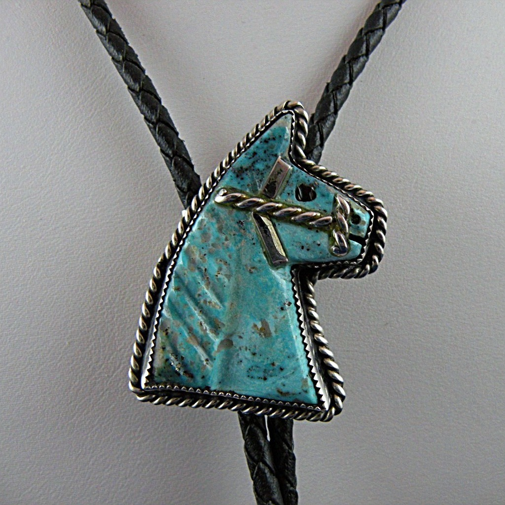 Native American Navajo Turquoise Horse Bolo Tie Signed Scott Dave c 1970s