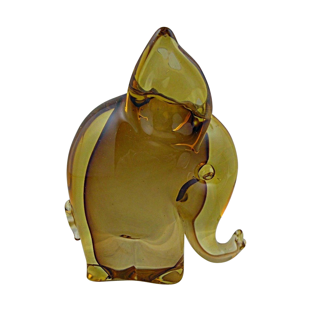 Murano Brown and Topaz Elephant made for Camer Glass 1960s